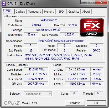 Amd Fx 6300 4515 86 Mhz Cpu Z Validator