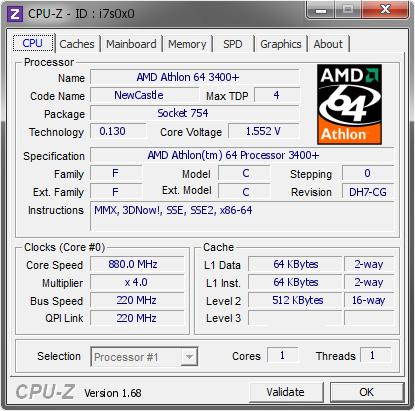 Amd Athlon 64 3400 880 Mhz Cpu Z Validator