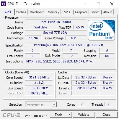 Intel Pentium E5800 @ 3191 81 MHz - CPU-Z VALIDATOR