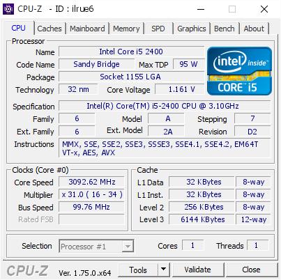 Intel Core i5 2400 @ 3092 62 MHz - CPU-Z VALIDATOR