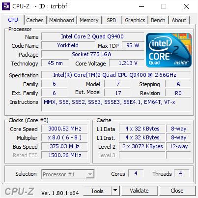 Intel Core 2 Quad Q9400 @ 3000 52 MHz - CPU-Z VALIDATOR