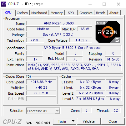 screenshot of CPU-Z validation for Dump [jaznje] - Submitted by  Anonymous  - 2019-10-14 15:24:25