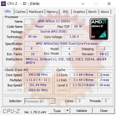 Amd Athlon X2 5000 3453 58 Mhz Cpu Z Validator