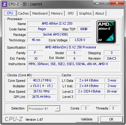 screenshot of CPU-Z validation for Dump [jwpmni] - Submitted by  RealizeGG  - 2013-10-15 11:10:27