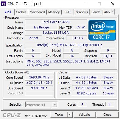 Intel Core i7 3770 @ 3693 84 MHz - CPU-Z VALIDATOR