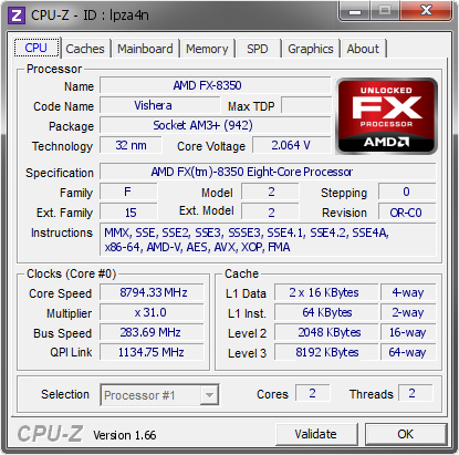 screenshot of CPU-Z validation for Dump [lpza4n] - Submitted by  Andre Yang  - 2012-11-19 14:11:33