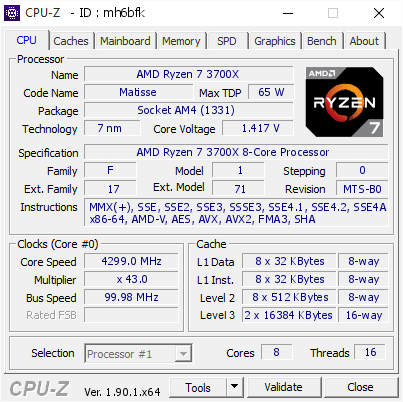 screenshot of CPU-Z validation for Dump [mh6bfk] - Submitted by  BTPC-RYZEN  - 2019-10-18 18:26:04