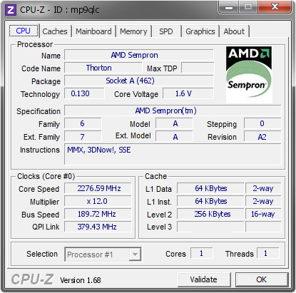screenshot of CPU-Z validation for Dump [mp9qlc] - Submitted by  THEOUTERONE  - 2014-01-13 17:01:22