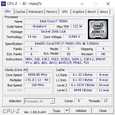 Intel Core i7 7800X @ 5098 85 MHz - CPU-Z VALIDATOR