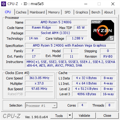 screenshot of CPU-Z validation for Dump [mva5a5] - Submitted by  X470-GAMING-PLU  - 2019-09-09 20:57:39
