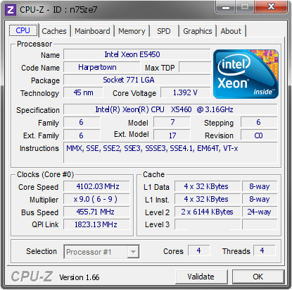 screenshot of CPU-Z validation for Dump [n75ze7] - Submitted by  NIC-PC  - 2014-01-01 00:01:59