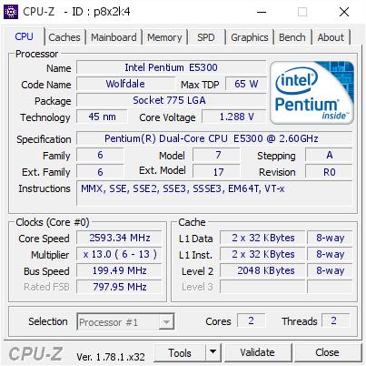 Intel Pentium E5300 @ 2593 34 MHz - CPU-Z VALIDATOR
