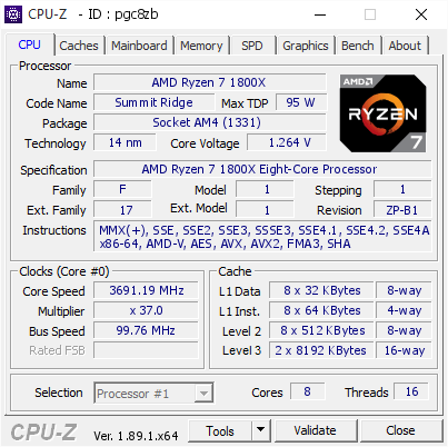screenshot of CPU-Z validation for Dump [pgc8zb] - Submitted by  REOL  - 2019-07-28 14:05:24