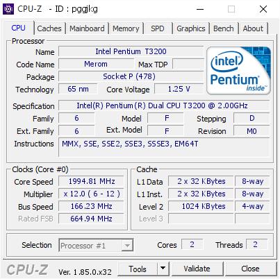 Intel pentium dual-core mobile t3200 lf80537gf0411m.