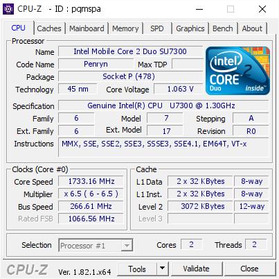 Intel Mobile Core 2 Duo SU7300 173316 MHz
