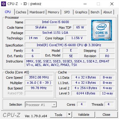 Intel Core i5 6600 @ 3592 08 MHz - CPU-Z VALIDATOR