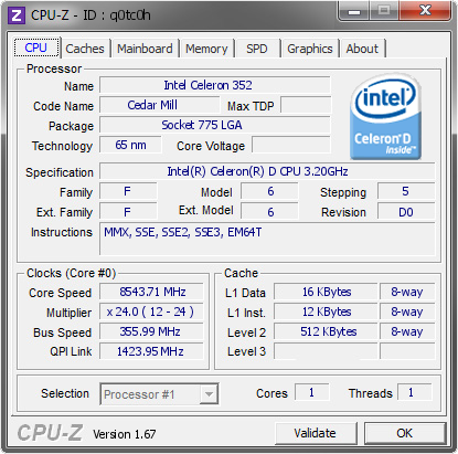screenshot of CPU-Z validation for Dump [q0tc0h] - Submitted by  wyt & zhlq  - 2013-10-19 13:10:05