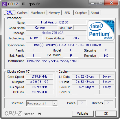 screenshot of CPU-Z validation for Dump [qb6u8t] - Submitted by  ASUS P5KPL-VM  - 2014-04-01 14:04:03