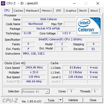 Intel Celeron @ 2499 95 MHz - CPU-Z VALIDATOR