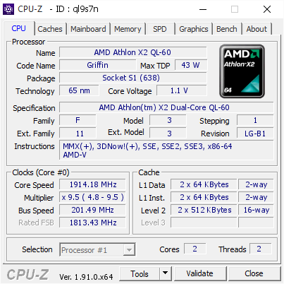 Amd Athlon X2 Ql 60 1914 18 Mhz Cpu Z Validator