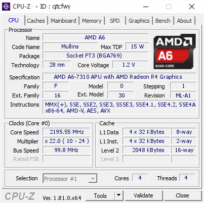 Top 15 Highest Frequencies For Amd A6 7310 Apu With Amd Radeon R4 Graphics Cpu Z Validator