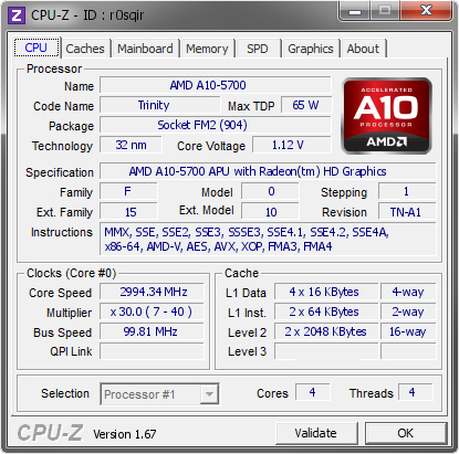 screenshot of CPU-Z validation for Dump [r0sqir] - Submitted by  Slashbot28  - 2013-11-30 17:11:52