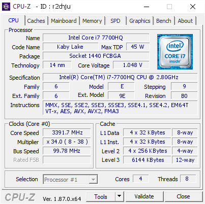 Intel Core i7 7700HQ @ 3391 7 MHz - CPU-Z VALIDATOR