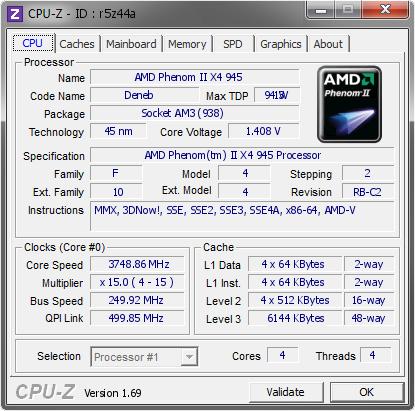 Amd Phenom Ii X4 945 3748 86 Mhz Cpu Z Validator