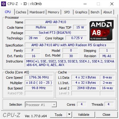 AMD A8-7410 @ 1796 36 MHz - CPU-Z VALIDATOR