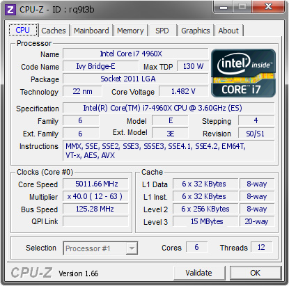 screenshot of CPU-Z validation for Dump [rq9t3b] - Submitted by  hokiealumnus  - 2013-09-03 03:09:22