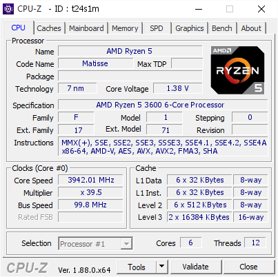 AMD Ryzen 5 @ 3942 01 MHz - CPU-Z VALIDATOR