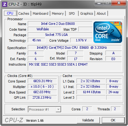 screenshot of CPU-Z validation for Dump [t6pl49] - Submitted by  F.O.G.N.A.  - 2009-10-10 16:10:21