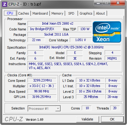 Intel Xeon E5 2690 v2 @ 3299 23 MHz - CPU-Z VALIDATOR