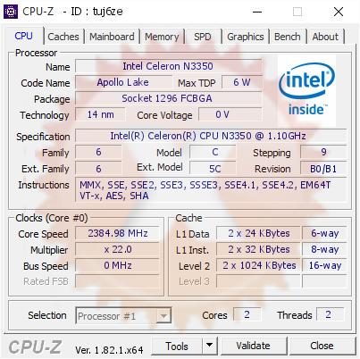 Intel Celeron N3350 @ 2384 98 MHz - CPU-Z VALIDATOR