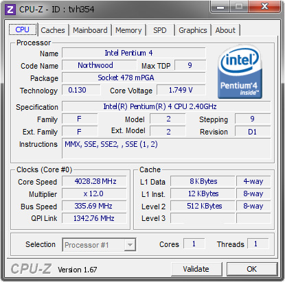 screenshot of CPU-Z validation for Dump [tvh354] - Submitted by  Mafio  - 2013-12-02 16:12:34