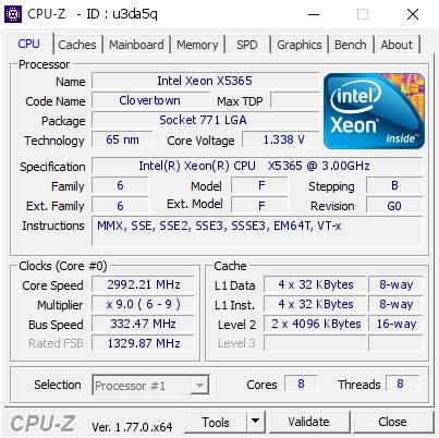 Intel Xeon X5365 @ 2992 21 MHz - CPU-Z VALIDATOR