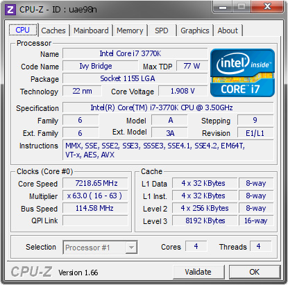 screenshot of CPU-Z validation for Dump [uae98n] - Submitted by  Mad222+Lin222=7.218g  - 2013-05-08 17:05:15