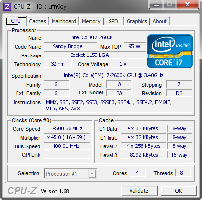 screenshot of CPU-Z validation for Dump [ufn9ey] - Submitted by  7777-PC  - 2014-02-21 00:02:56