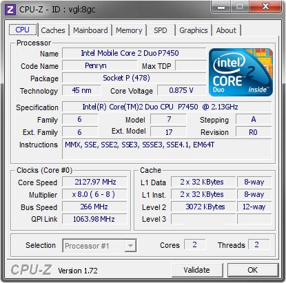 Intel Mobile Core 2 Duo P7450 @ 2127 97 MHz - CPU-Z VALIDATOR