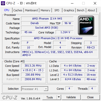 AMD Phenom II X4 945 @ 3013 26 MHz - CPU-Z VALIDATOR