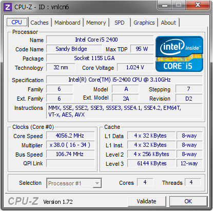 Intel Core i5 2400 @ 4056.2 MHz - CPU-Z VALIDATOR
