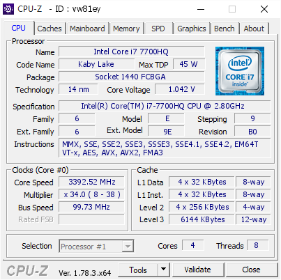 Intel Core i7 7700HQ @ 3392 52 MHz - CPU-Z VALIDATOR