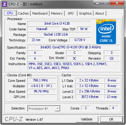screenshot of CPU-Z validation for Dump [vw9xvv] - Submitted by  WILL-PC  - 2013-12-09 14:12:12