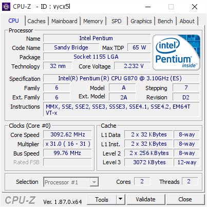Intel Pentium @ 3092 62 MHz - CPU-Z VALIDATOR
