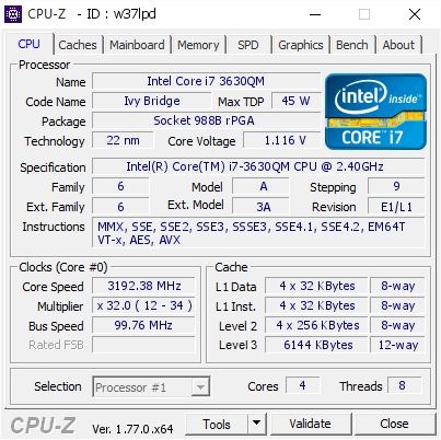 Intel Core i7 3630QM @ 3192 38 MHz - CPU-Z VALIDATOR