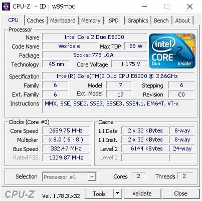 Intel Core 2 Duo E8200 @ 2659 75 MHz - CPU-Z VALIDATOR