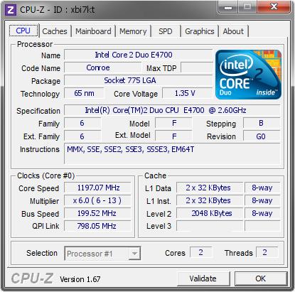 Intel Core 2 Duo E4700 @ 1197 07 MHz - CPU-Z VALIDATOR