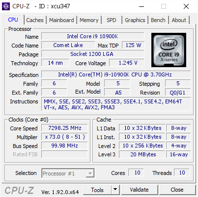 screenshot of CPU-Z validation for Dump [xcu347] - Submitted by  ROG-Ivan Qu/Q33  - 2020-05-22 11:49:44