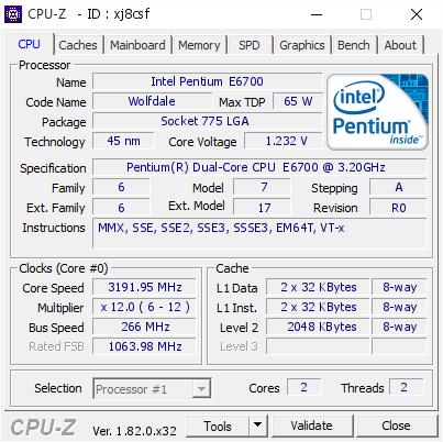 Intel Pentium E6700 @ 3191 95 MHz - CPU-Z VALIDATOR