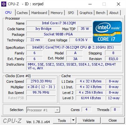 Intel Core i7 3612QM @ 2793 33 MHz - CPU-Z VALIDATOR